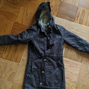 Heavy long dark blue coat with hood